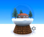 Carillon Christmas winter landscape with house — Stock Photo