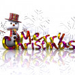 Stock Photo: Christmas illustration with text and snowm- 3D