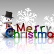 Christmas illustration with text and snowman - 3D — Stock Photo #15546141