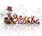 Christmas illustration with text and snowman - 3D — Stok fotoğraf