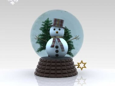 Nice glass ball with Snowman greets - 3D — Stock Video