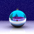 Christmas ball decorated - 3D — Stock Photo
