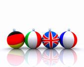Christmas balls with flag - 3D — Stock Photo
