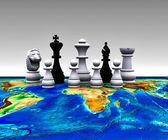 šachy na světě - 3d — Stock fotografie