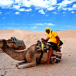 Man on camel in the Sahara desert — Stock Photo #18907573