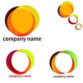 Conjunto de logotipos abstractos de distintos colores — Vector de stock