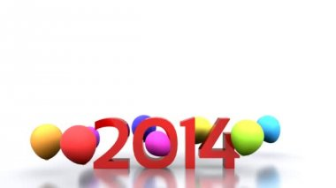 2014 with colorful balloons — Stock Video
