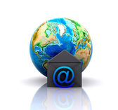 World with e-mail icon — Stock Photo