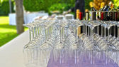 Banquet with crystal glasses — Stock Photo