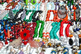 Necklaces, bracelets, earrings and brightly colored — Stock Photo