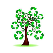Dessin abstrait - arbre avec l'icône de recyclage — Vecteur