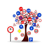 Abstract Design - Tree with road signs — Stock Vector