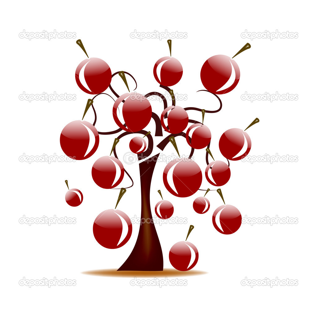 Dessin abstrait arbre aux cerises image vectorielle - Dessin de cerise ...
