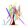 Tree with colored pencils — Stock Vector