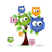 Tree with colorful owls family — Wektor stockowy