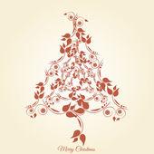 Christmas tree floral, vintage — Vecteur