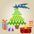 Christmas tree with gifts — 图库矢量图片