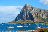 Panorama of the coast of Trapani with mount hood — Stock Photo