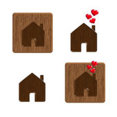 House icon with red hearts — Stock Vector