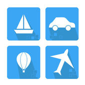Icons set with means of transport — Vector de stock