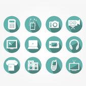 Iconen set van moderne elektronische objecten — Stockvector
