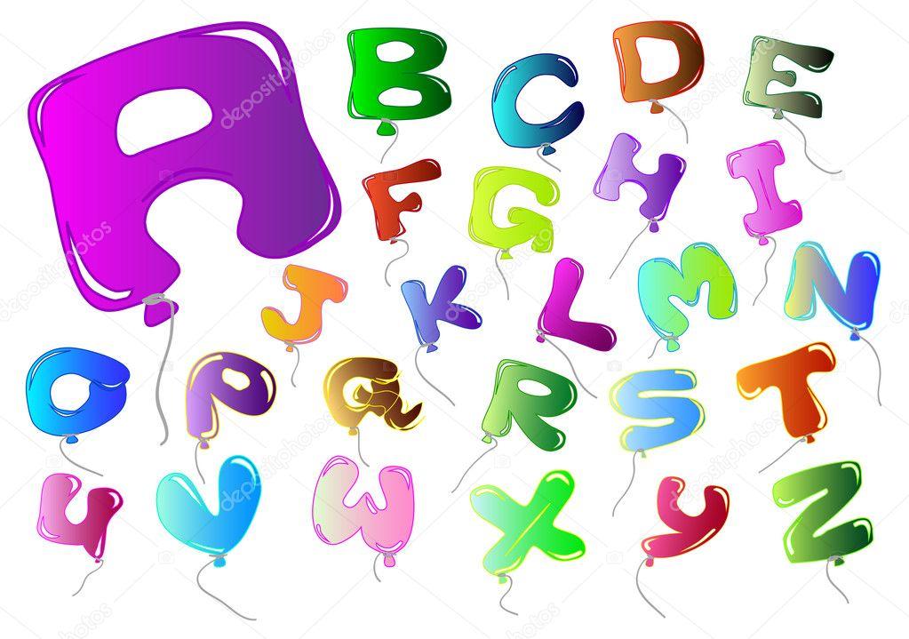 字母炫彩形气球矢量