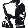 Saxophonist, silhouette — Stock Vector #12501093