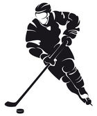 Hockey player, silhouette — Stock Vector