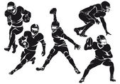 Set of american football players, silhouettes — Stock Vector