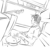 музыкант с гитарой едет автобус — Cтоковый вектор