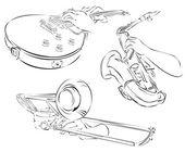 Gitarre, Saxophon, Posaune, Satz von Linie Kunst — Stockvektor