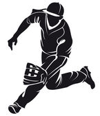Ballplayer, silhouette — Stock Vector