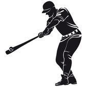 Ballplayer, silhouette — Stock Vector