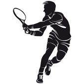 Tennis player, silhouette — Stock Vector
