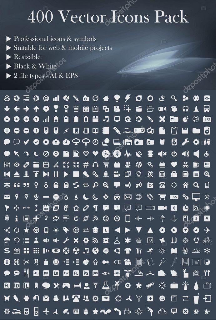 400 Vector Icons Pack´(White Version)