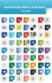Etiquetas engomadas de la web 2.0 redes sociales — Vector de stock