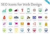 SEO Icons for Web Design — Stok Vektör