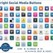 Bright Social Media Buttons - Stok Vektör