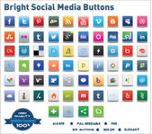 Bright Social Media Buttons — Stok Vektör