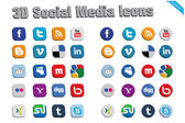 3D Social Media Icons 2 — Stock Vector