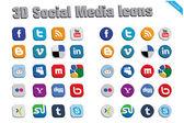 3D Social Media Icons 2 — Stock Vector