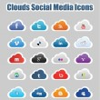 Clouds Social Media Icons 1 — Stock Vector