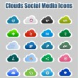 Clouds Social Media Icons 2 - Stock Vector