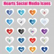 Hearts Social Media Icons 1 — Stock Vector