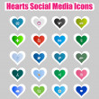 Hearts Social Media Icons 2 — Stock Vector