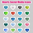 Hearts Social Media Icons 2 - Stock Vector