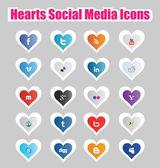 Hearts Social Media Icons 1 — Stock Vector