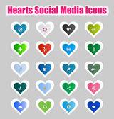 Hearts Social Media Icons 2 — Stock Vector