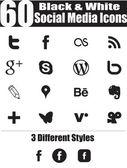 60 Black & White Social Media Icons — Vetor de Stock