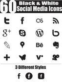 60 Black & White Social Media Icons — Stock Vector